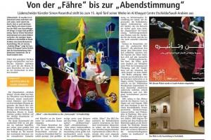 Lüdenscheider Nachrichten vom 1.04.2015 zur Ausstellung Simon Rosenthal in Dschiddah, Saudi-Arabien