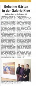 Geheime Gärten, Lüdenscheider Nachrichten, 15. Nov '14